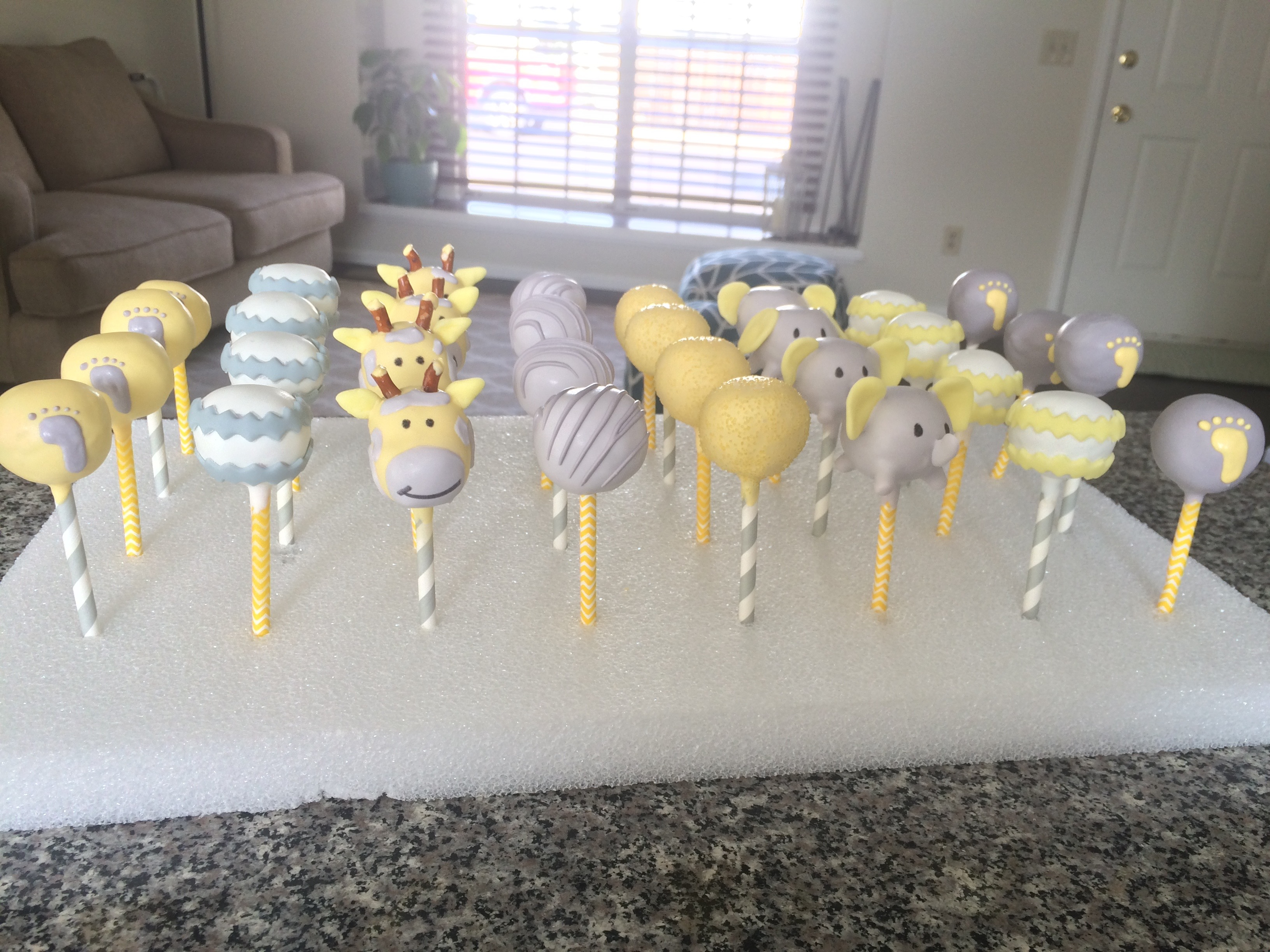 Cakepops Yellow Gray Baby Shower Courtneys Craftincookin