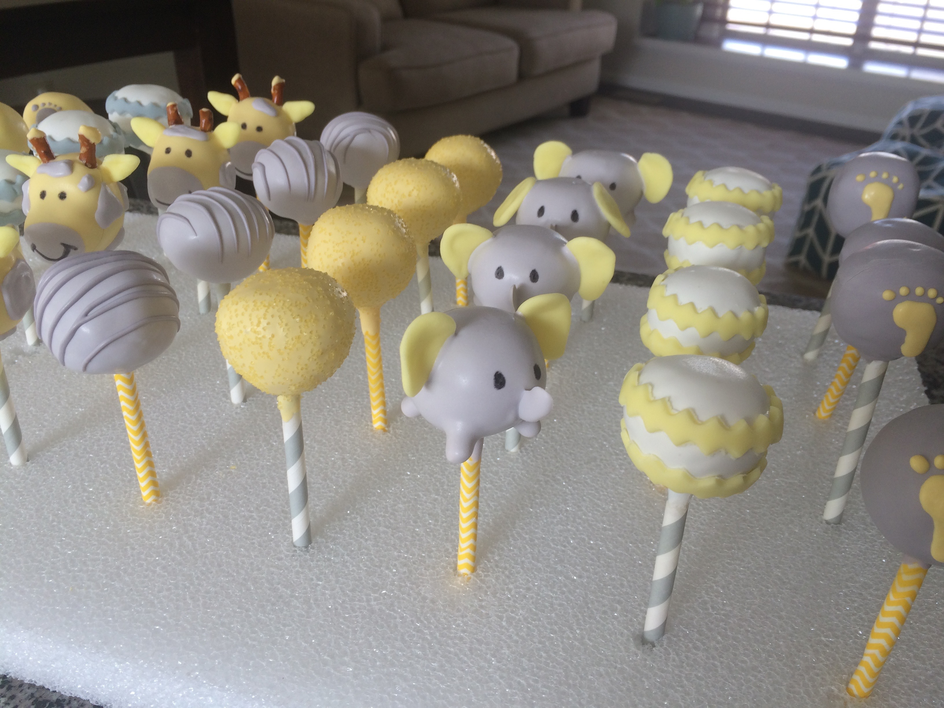 Cakepops Yellow Gray Baby Shower Courtney S Craftin Cookin