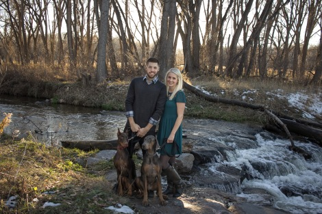 Bobby & Courtney next to water stream with dogs -1